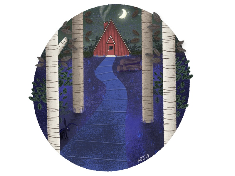 Cabin In The Woods texture illustration no outlines spot the hidden rabbit nature illustration night scene outdoors nature cabin drawing illustrator doodle illustration