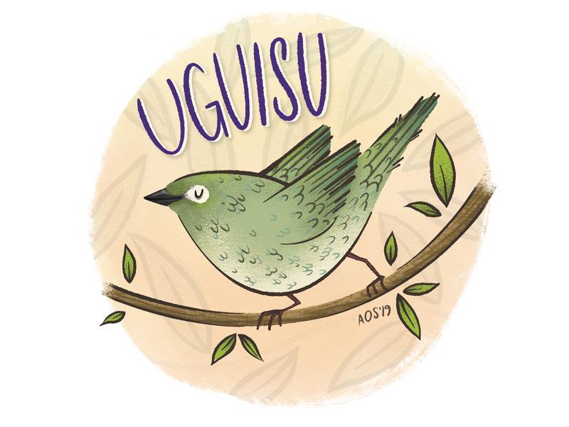 U is for Uguisu hand lettering hand drawn sketch doodle animal alphabet animal birds illustration bird illustration drawing nature illustration nature bird uguisu
