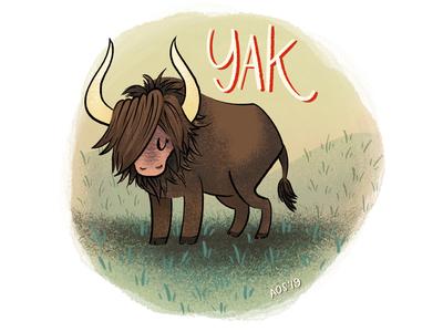 Y is for Yak yak series illustration illustrator hand drawn drawing doodle illustration animal illustration animal alphabet