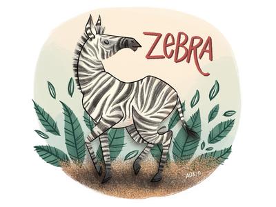 Z is for Zebra hand drawing hand drawn zebra animal alphabet alphabet animal art animal drawing doodle illustrator illustration drawing