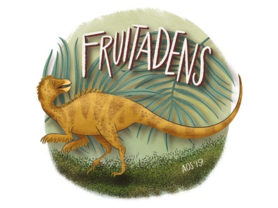 F is for Fruitadens series illustration alphabet dinosaur alphabet dinosaur hand drawn doodle illustration drawing