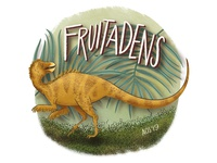 F is for Fruitadens series illustration alphabet dinosaur alphabet dinosaur hand drawn doodle illustration drawing