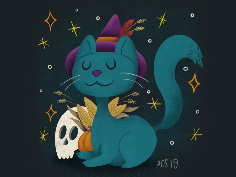 Halloween Vibes witch kitty halloween cat hand drawn illustrator drawing doodle illustration
