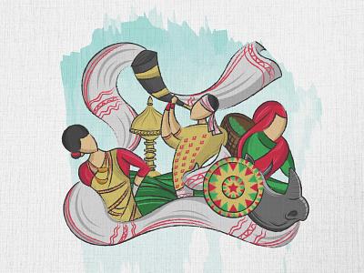 Assamese Cultural Design minimal doodleart doodle vector culture graphic illustration design