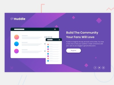Huddle landing page with a single introductory section