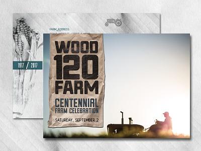 Centennial Farm Celebration Invitation 100 year tractor farm photo texture vintage grunge direct mail postcard invitation