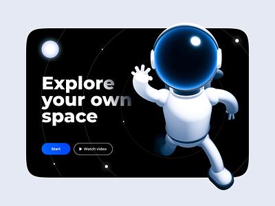Astronaut spline figma design illustration mobile ui