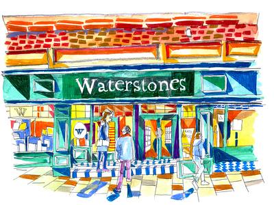 Leeds Waterstones illustration design painting watercolor watercolour journal reportage waterstones books illustrator art leeds