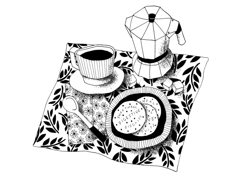Inked Coffee Illustration lineart bxw blackandwhite still life illustration drawing inking coffee