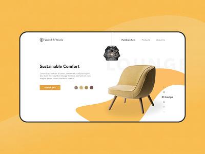 Wood & Wools digital concept mockup design ui minimalist web design furniture