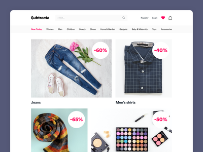 $ubtracta / Work in progress ecommerce shop ecommerce design ecommerce wip minimal ui product page clean design landing landing page web design