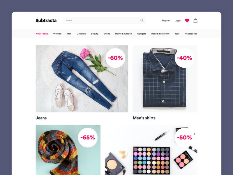 $ubtracta / Work in progress ecommerce shop ecommerce design ecommerce wip minimal ui product page clean design landing landing page web design