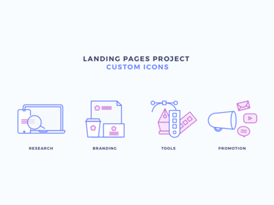 Creative Icons - Landing Page Project - Custom Icons research promotion tools design branding design icons icons