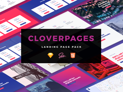 CloverPages - Landing page pack landing page. prototyping web design sketch ui kit landing promo page webinar coworking landing pages