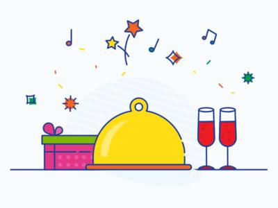 celebrations illustration present wine celebration dinner
