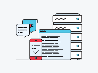 Hosting Illustration communication server messaging illustration hosting