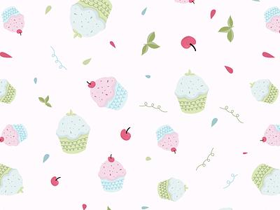 Cupcake Pattern bakery pattern design cherries mint cupcake pattern