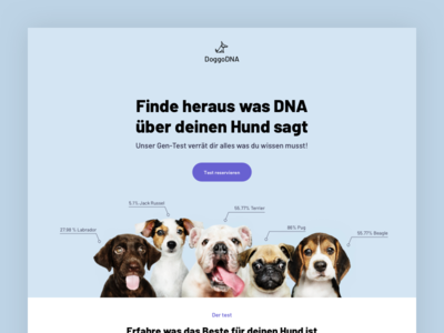 DoggoDNA - DNA tests for dogs landingpage pets landing page design design web design ui landing page landing