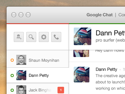Google Chat for Mac google mac application chat conversation plus ui ux minimal