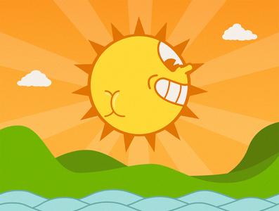 Cheeky sunset vector illustration illustrator the sun buns butt buttcheeks sunrise sunset logo sunshine sunny face cartoon landscape steamboat retro disney retro cuphead sun sunset