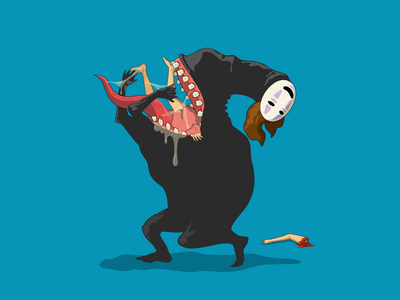 Noface Dribbbles 2020 design blue mouth teeth dribble drool gobble illustrator vectorart eating disturbing creepy horror scary halloween anime studioghibli spirited away noface