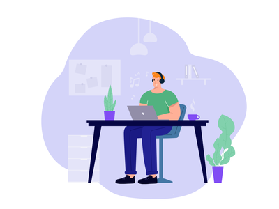 At work flat design 2d character illustration men working work