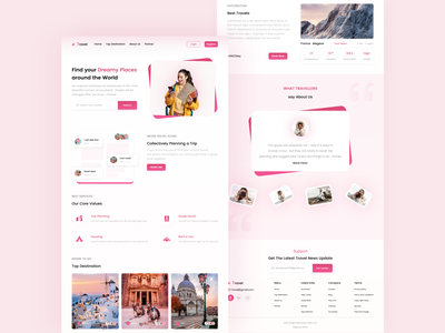 Travel Landing Page adventure booking homepage landing page website uiuxdesign web ui webdesign travel agency community travel app travelling travel web travel website website design concept clean nature travel guide trip planner