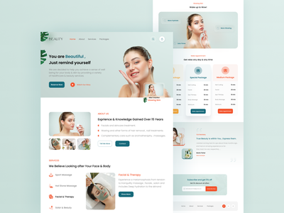 Spa & Beauty Landing Page landing web designer webdesign uiux ux ui treatment service landing page ui landing page design websites website design website skincare product spa beauty makeup landing page webpage