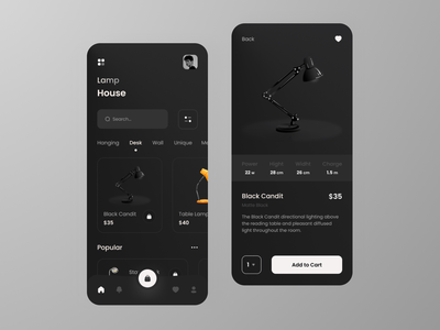 Lamp Product App trend shop concept dark mode dark ui dark app dark app design mobile ui mobile light application app store lamp ui designers design ui design uiux ui