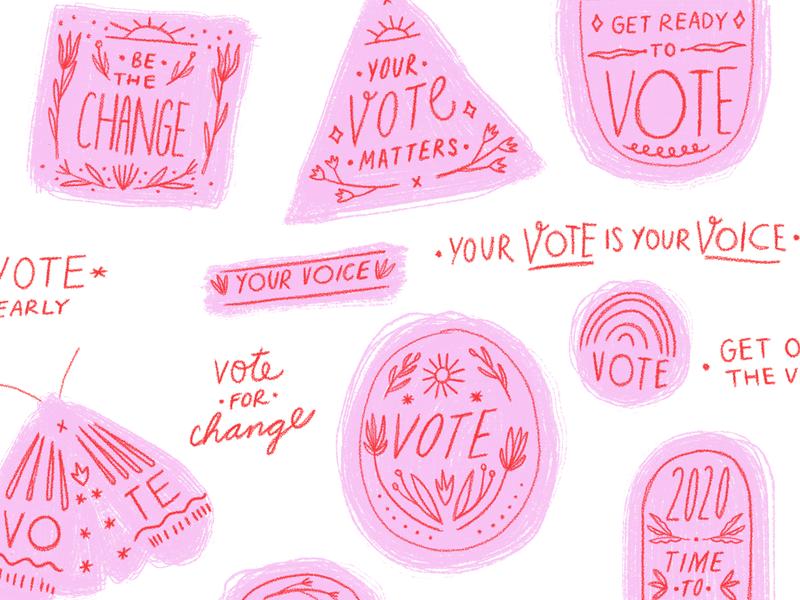 Your Vote, Your Voice Illustrations votes president election hand illustrated voted illustration voting vote