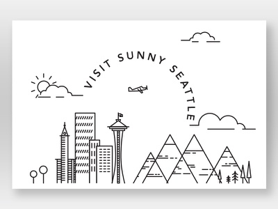 Postcard line art postcard seattle