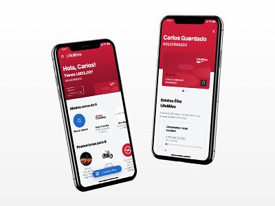 Home + Card Screen red iphonex card loyalty card loyalty app ux ui