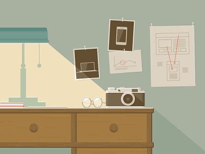 Re-design as investigation design re-design redesign investigation desk camera vintage light lamp illustration hanno