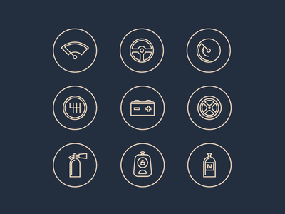 Feature icons car auto key illustration icon iconography dashboard speedometer race hanno
