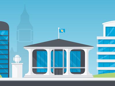A glimpse of Droidville droid android town city london building mobile illustration monument headquarter