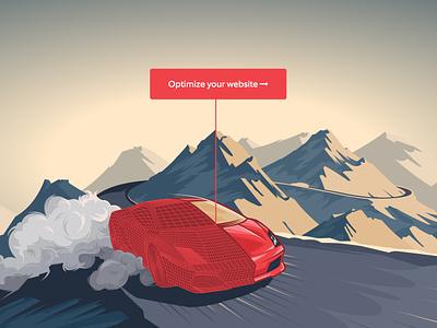 SEOHosting seoh seohosting hosting car race website header splash web illustration
