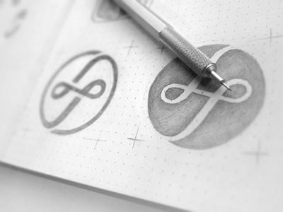 LuckyTurn Media sketch mark sketch lucky turn media monogram ambigram circle logo
