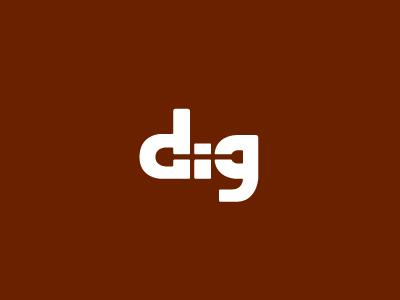 Dig dig digg shovel logo wordmark negative space word logotype typography