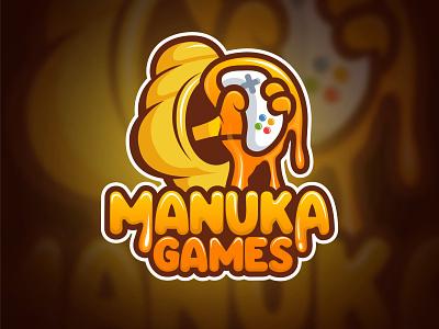 Manuka Games honey icon mascot mascot character illustration gamestore games logo drawing design art design branding