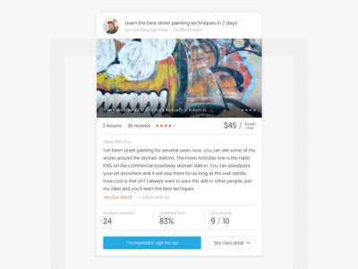 Clascity Lesson Display dashboard rating image price ux ui class