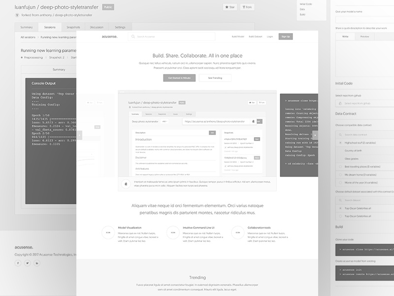 Datmo product wireframe