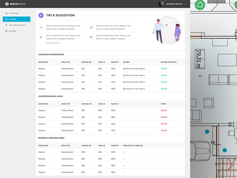 Vergesense Dashboard dashboard ui data metrics chart graph conversion segmentation web design phone