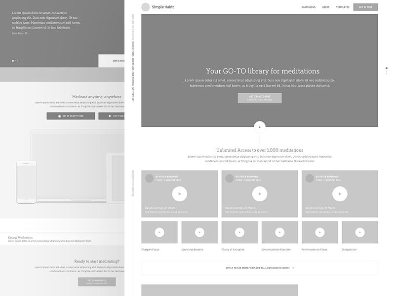 Simple Habit landing page wireframe web flat type ux branding app icon ui  typography design mobile