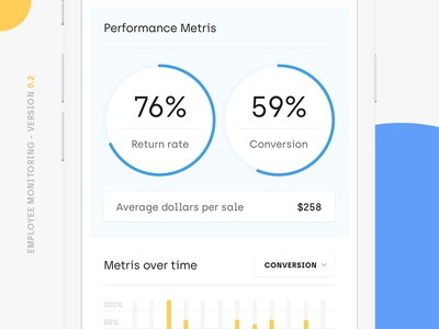 Mobile app for performance monitoring web ux typography ui graph icon flat design mobile app