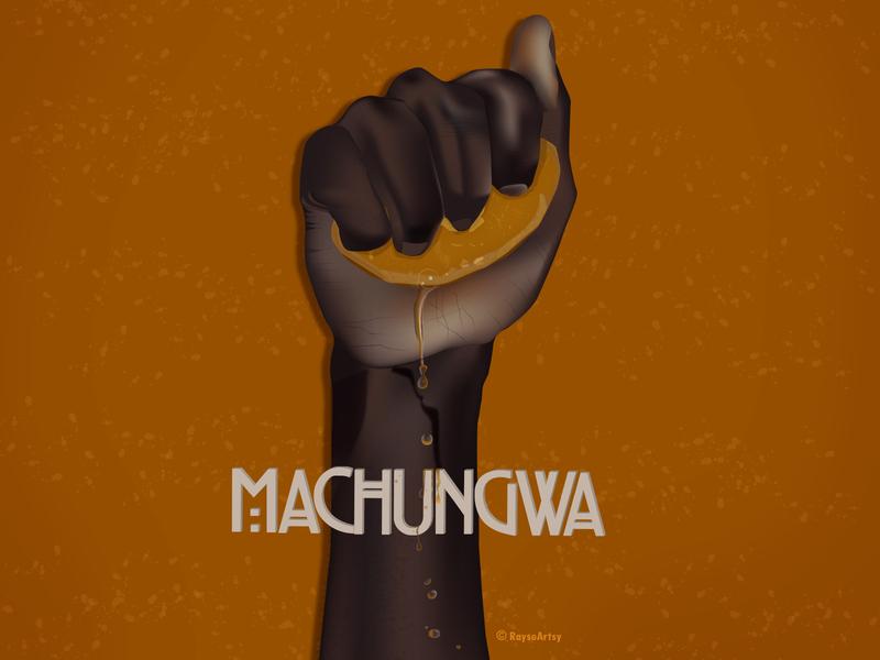 Machungwa arm hand orange illustration african minimal dark skin vector design art