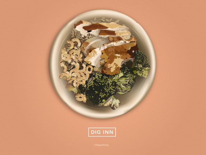 Illustration for Dig Inn food art minimal vector illustration design