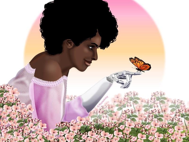 Ruka flowers meadow garden butterfly prosthetic african woman illustrator dark skin vector illustration design art
