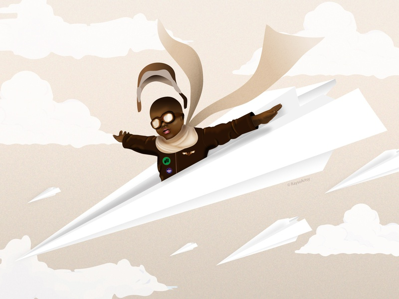 Ataruka - He Will Fly childrens illustration minimal pilot fly paper plane character design illustrator dark skin vector illustration design art