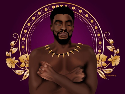 Chadwick Boseman tribute gold purple marvel hero blm rest in power chadwickboseman black panther vector illustration design art