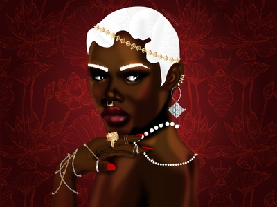 Icy sexy red sparkle gold silver bling rich jewelry floral character design black girl illustrator dark skin vector illustration design art